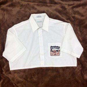 Up-Cycled Christian Dior Cropped Button Down with embroidered Patches